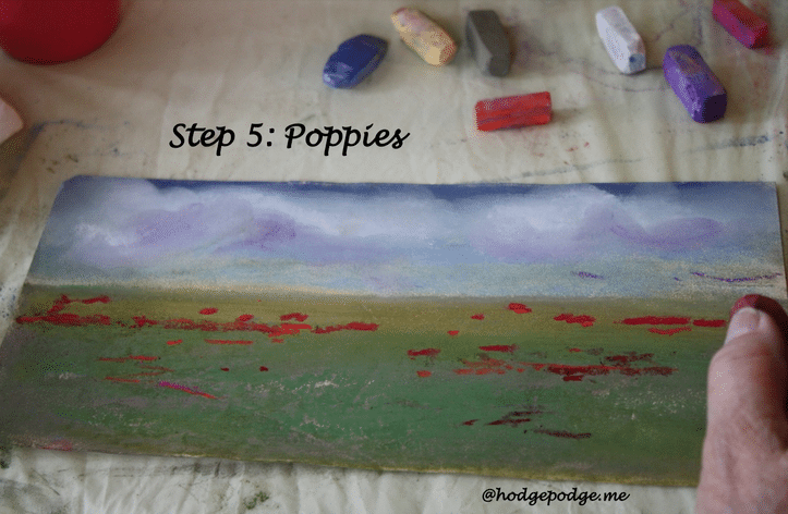 Field of Flowers Chalk Pastel Art Tutorial via Hodgepodge.me at TeachThemDiligently.net