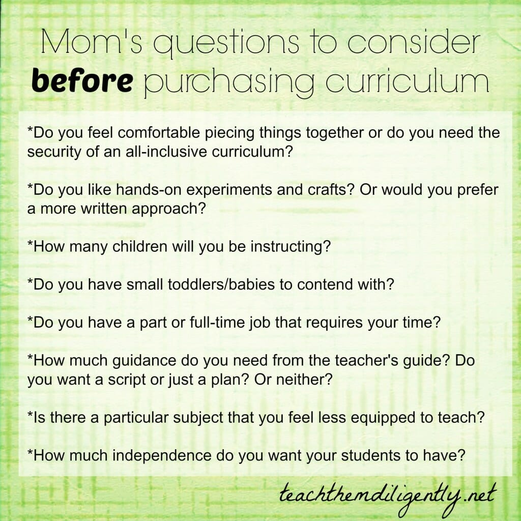 questions to consider before purchasing curriculum