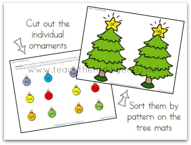 cut out the ornaments and sort on the trees by word pattern | Teach Them Diligently