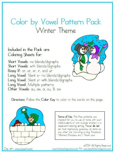 FREE Color by Vowel Pattern Pack- Winter Theme | Teach Them Diligently