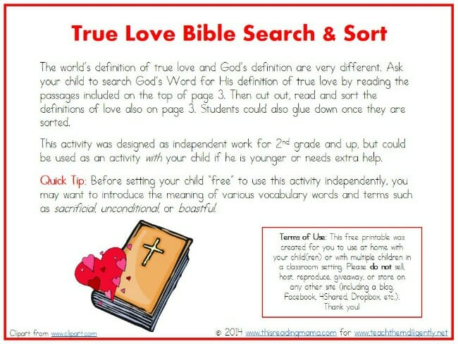True Love Bible Search and Sort | Teach Them Diligently