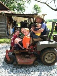 kids on lawnmower