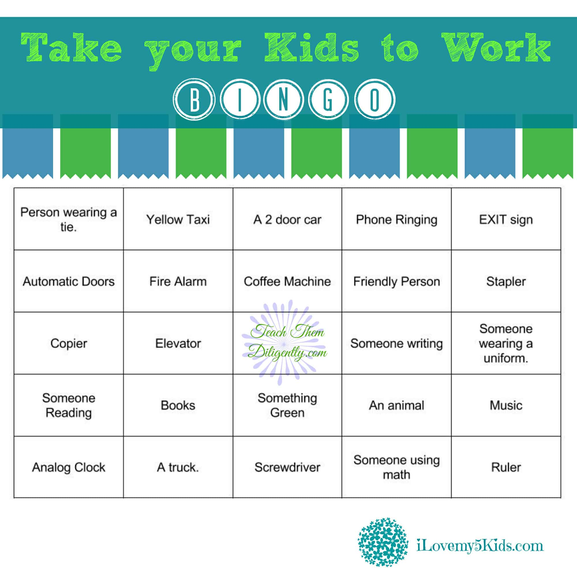 Take your kids to work Bingo