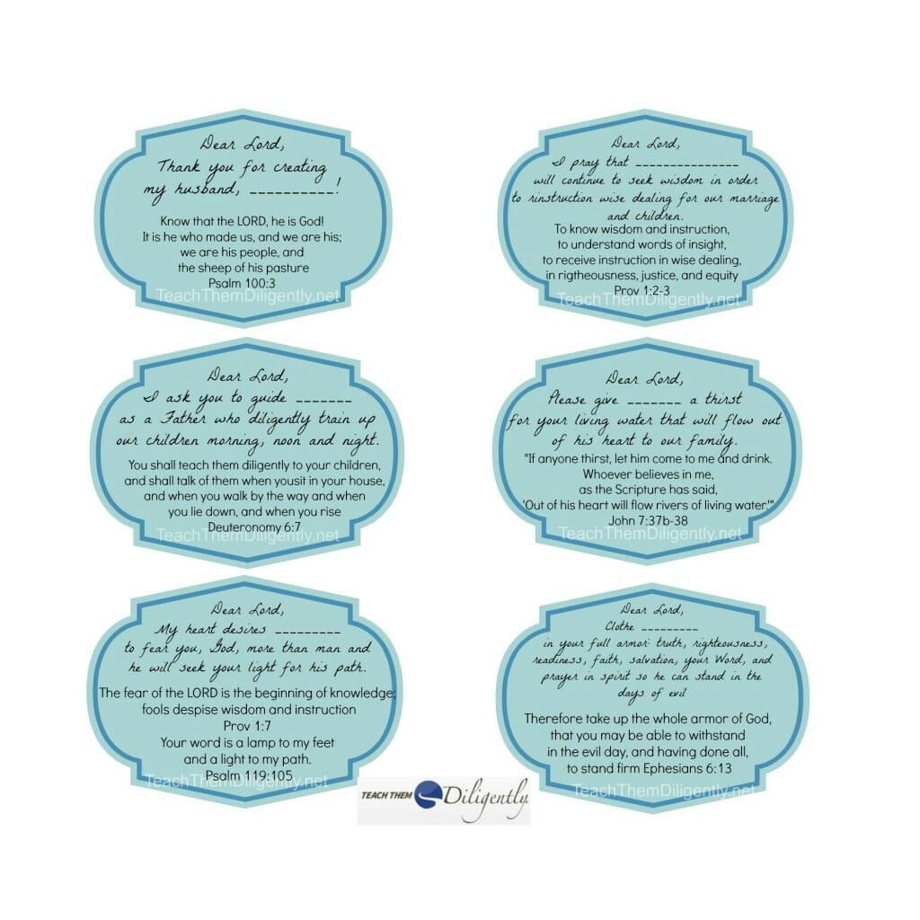 Prayer cards for husbands and fathers