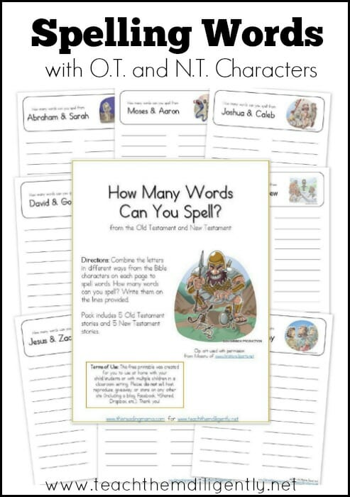 Spelling Words with Bible Character Names - TTD