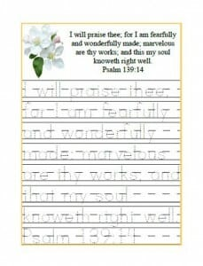 Psalm 139 handwriting sheet printable