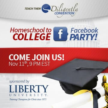 Homeschool To College Facebook Party with Liberty University TONIGHT!