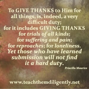 To Give thanks in all things...