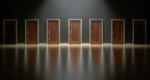 seven closed doors to choose from