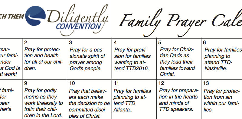 Family Prayer Calendar– Download and Join Us In Unified Prayer!