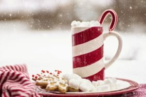 hot chocolate candy cane january