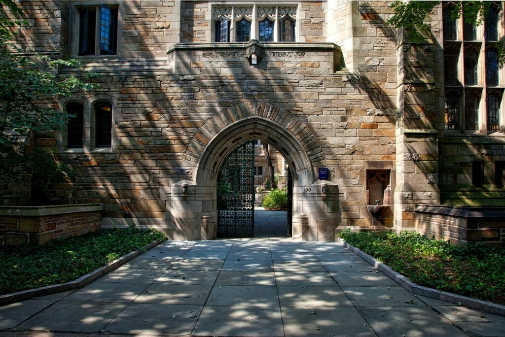 university building gated entrance