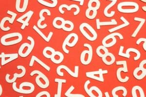 orange and white numbers scattered