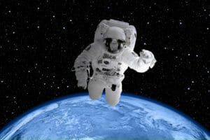 spaceman in space with earth