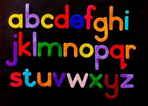 alphabet letters in bright colors