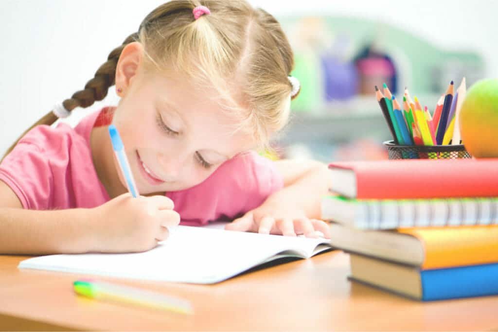 Elementary age girl doing homework