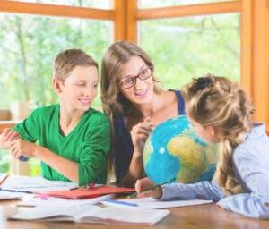Homeschool mother with her 2 children